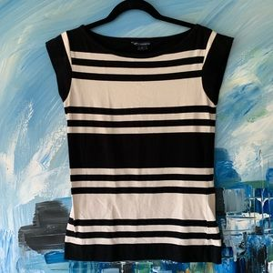 French Connection Black Cream Striped Top Sz L